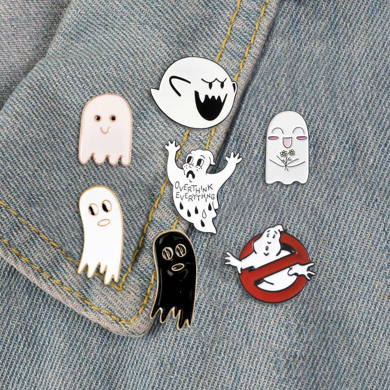 لطيف شبح المينا دبوس مخصص Ghostbusters دبابيس الكرتون أسود أبيض شبح التلبيب دبابيس شارات حقيبة قميص هدية مجوهرات للأطفال
