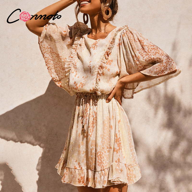 Conmoto Chiffon Summer 2020 Beach Holiday Dresses Women Flare Ruffles Robe Femme Casual Backless Sexy Short Dress Vestidos