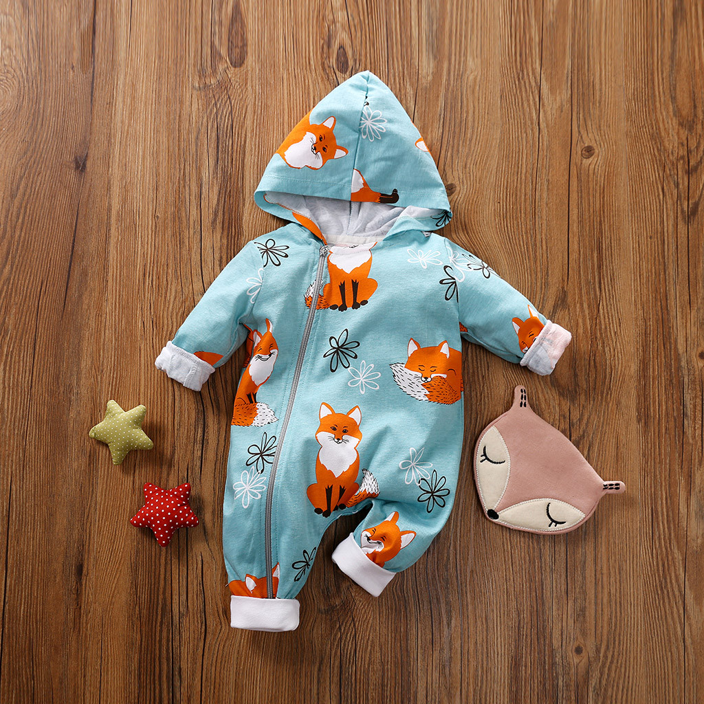 0-24M Infant Baby Girls Boys Hooded Jumpsuit Cartoon Fox Printed Romper Clothes For Newborn Baby Cute Bodysuit Outfit #LR2