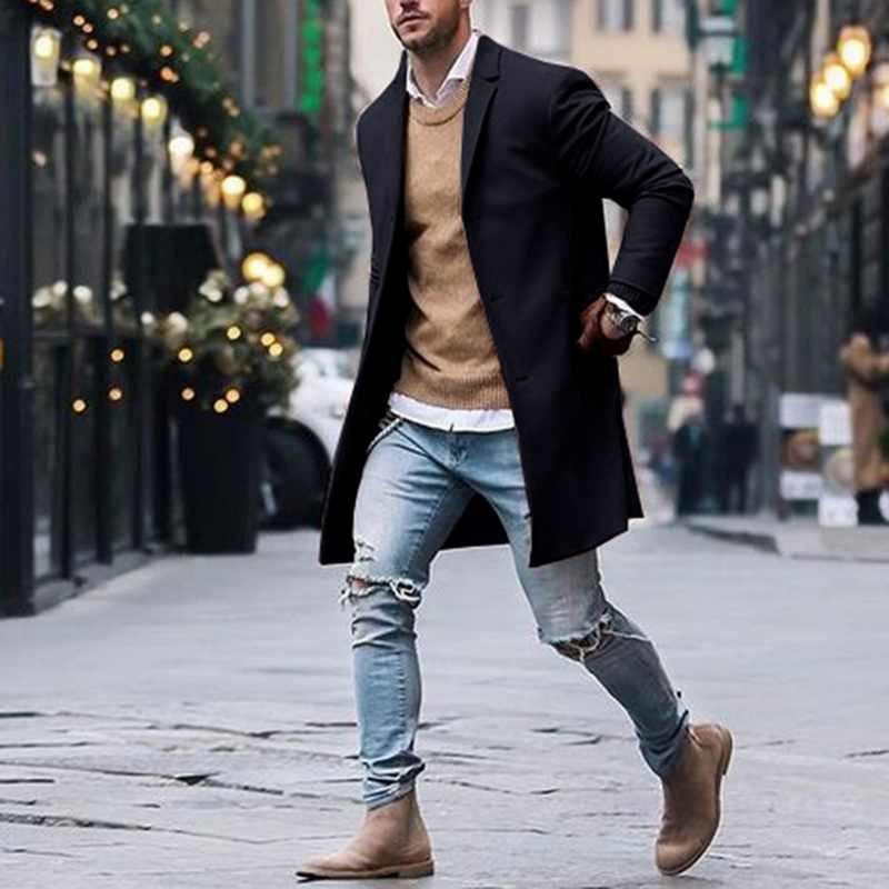 Herfst Winter Heren Merk Fleece Blends Jassen Man Overjas Casual Solid Slim Kraag Jassen Lange Katoen Trenchcoats Streetwears
