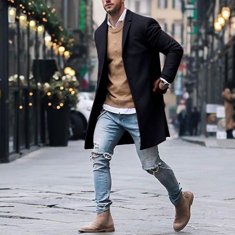 Autumn Winter Mens Brand Fleece Blends Jackets Male Overcoat Casual Solid Slim Collar Coats Long Cotton Trench Coats Streetwears
