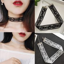 2019 New fashion jewelry black white cloth Lace Tattoo choker necklace gift for women girl Simple retro Gothic Velvet Necklace(China)