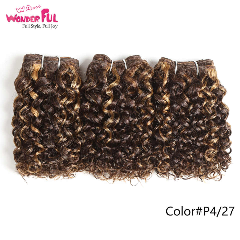 Jerry Curl Human Hair 3Pcs/lot Brazilian Remy Hair Weave Bundles 1B red 27 P4/30 Color Hair Extension For Women Can Make A Wig