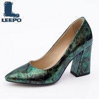 Escarpins femmes chaussures dames printemps été impressions colorées talons hauts femme rétro grande taille chaussures femme vert Vintage pompes