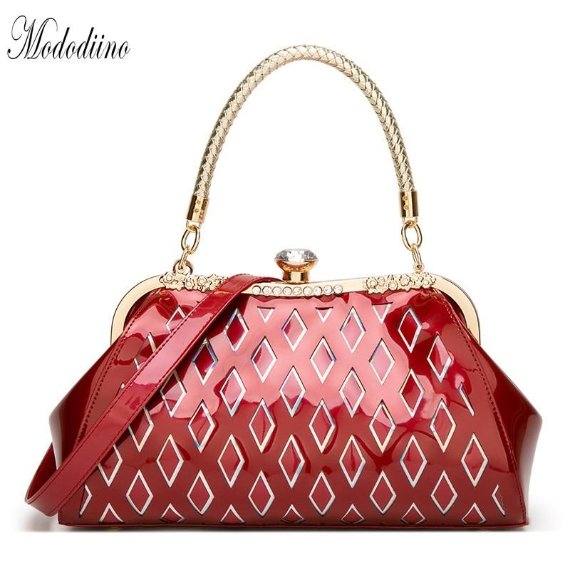 Mododiino Patent Leather Handbag Women Shoulder Bag Crossbody Diamond Shell Ladies Evening Luxury DNV1154