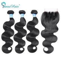 Panse extensiones de cabello humano con encaje Frontal, cabello brasileño ondulado, 3 unidades/lote, mechones completos gruesos, no Remy, envío gratis
