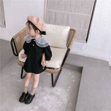 2020 Spring New Arrival Korean style cotton Solid long sleeve princess dress matching color collar for baby girls Cute Clothes(China)