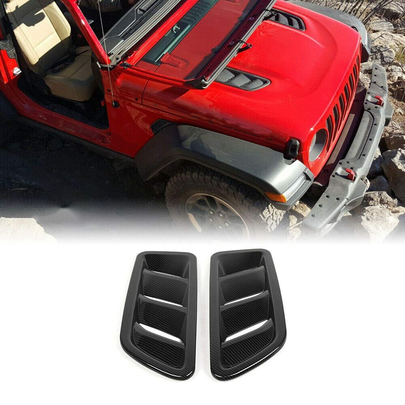 Front Engine Hood Air Vent Cover Trim for Jeep Wrangler JL 2018 2019 Car Accessories|Exhaust Fans| |  - title=