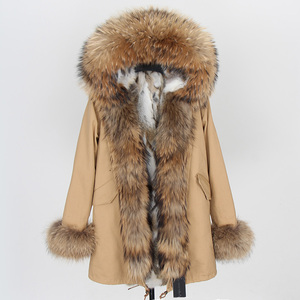 Image 2 - Fashion Women Parkas Rabbit Fur Lining Hooded Long  Coat Outwear Army Green Large Raccoon Fur Collar Winter Warm Jacket DHL