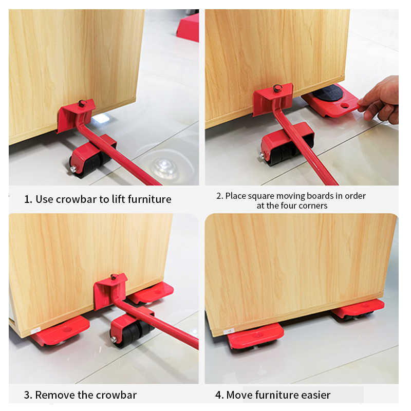 5 Pcs Furniture Moving Transport Roller Set Removal Lifting Moving Tool Set Wheel Bar Mover Device Max Up for 400 KG-4