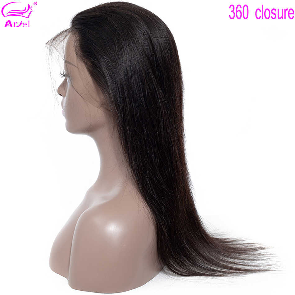 Ariel 360 Lace Frontal Malaysian Straight Closure Free Part 360 Frontal Non Remy Human Hair Closure 22 Inch Pre Plucked Closure