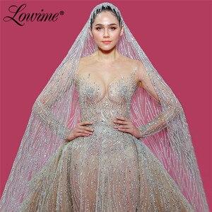 Image 3 - Cao Cấp Lấp Lánh Váy Áo Có Thể Tháo Rời Tàu Hồi Giáo Ả Rập Nàng Tiên Cá Cô Dâu Đồ Bầu 2020 Couture Tay Áo Dài Cô Dâu Đầm