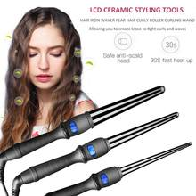 New 19/25/32mm EU US LCD Curlers Conical Curling Iron Single Tube Ceramic Glaze Pear Flower Cone Electric Hair Curly Hair Tools(China)