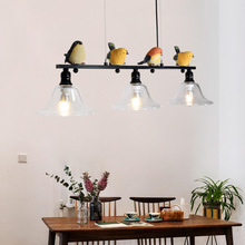 Nordic pastoral iron glass resin bird chandelier  lamps dining room living room white / black lights