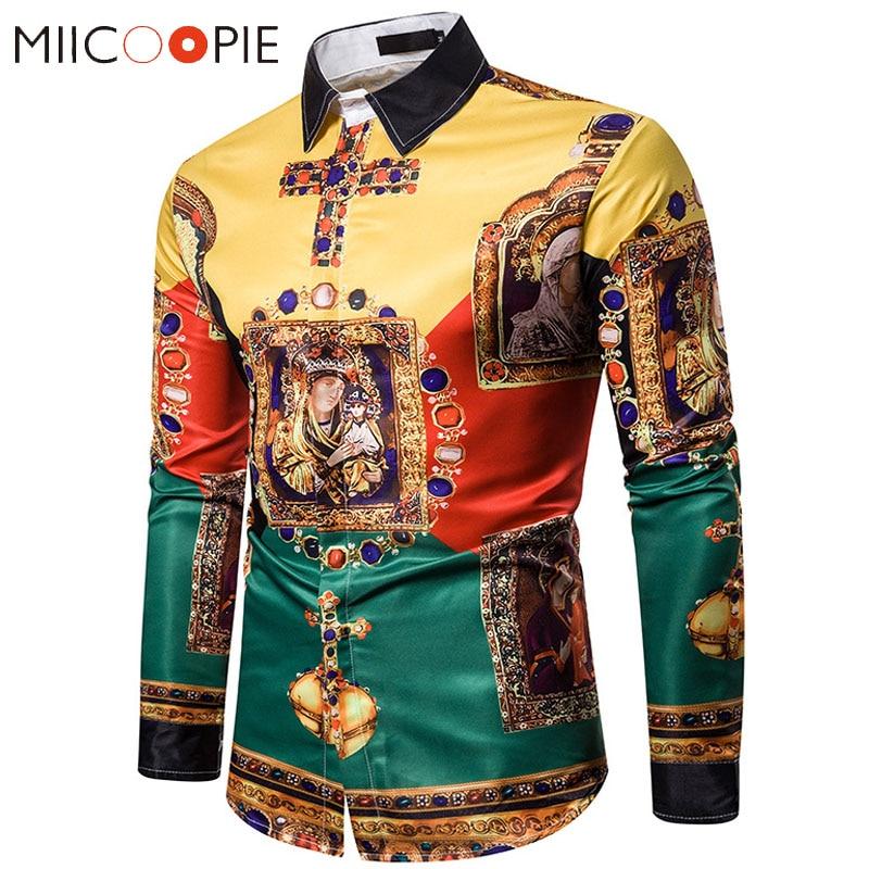 Luxury Royal Mens Shirts Casual Slim Fit Cross Gemstone Printed Long Sleeve Slim Fit Chemise Homme Men Prom Party Tuxedo Shirt