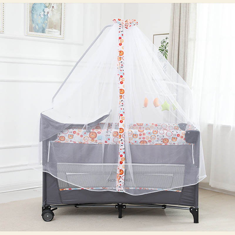 Baby Bed Diaper Table Game Bed Multifunctional Crib Foldable Portable  With Rollers  Easy To Fold And Travel