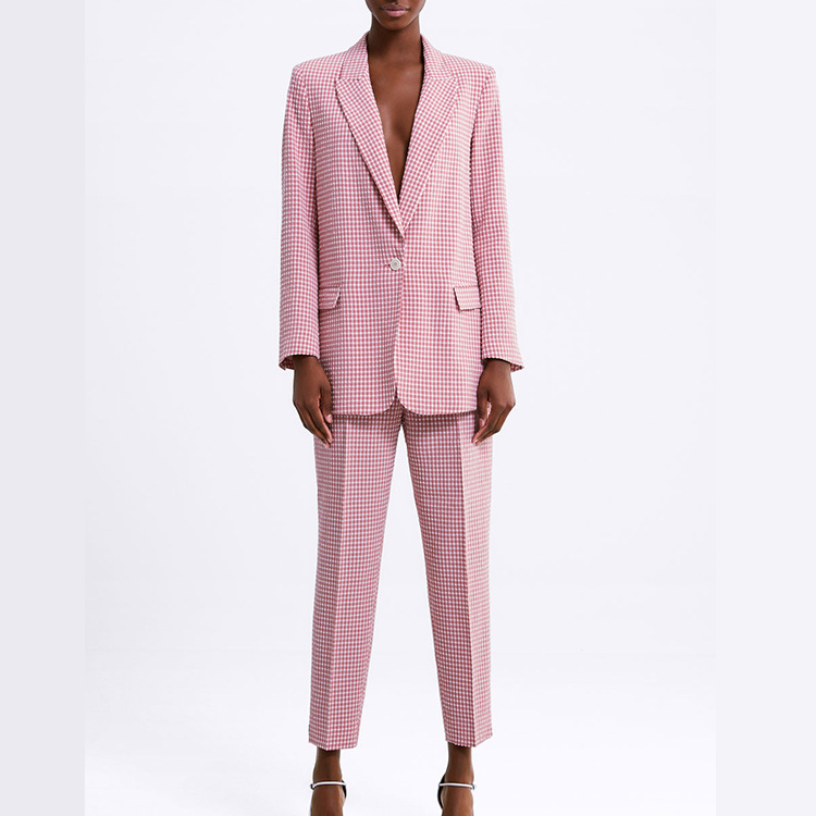 Overplus Of Goods Exported To Europe And US Spring And Summer New Style Women's Long-sleeved Pink Vichy Lattice Slim Fit Suit +