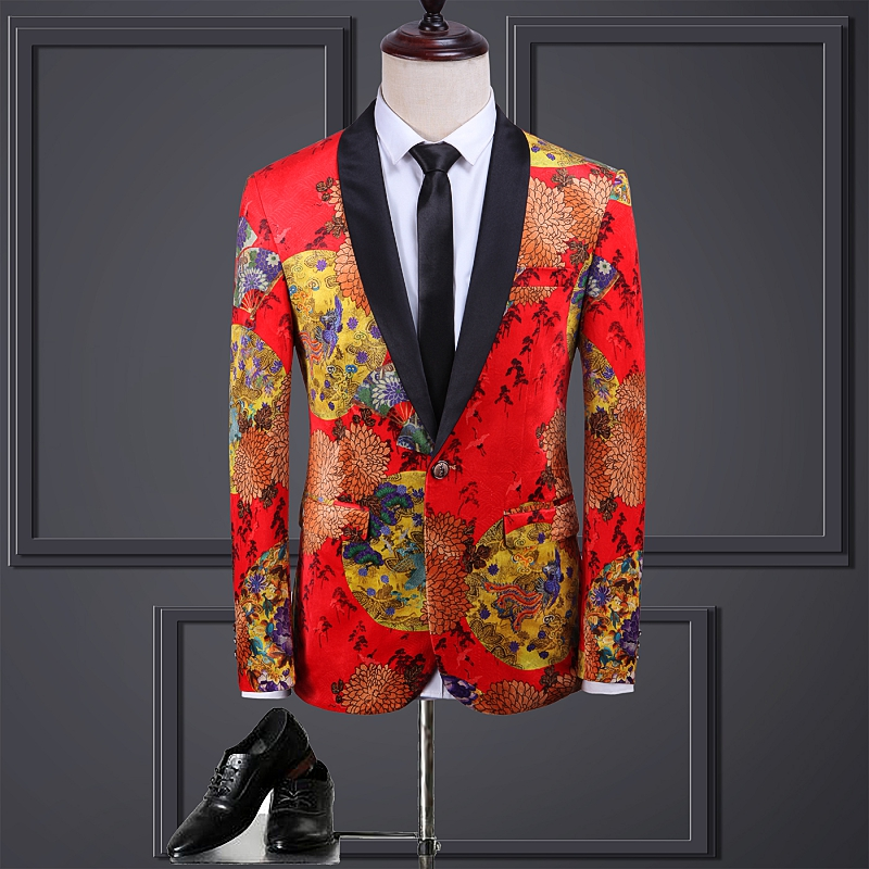 Men Blazer Chinese Style One Button Slim Fit Party Host Prom Costume Groom Blazer Jacket Red Floral Printing M-5XL