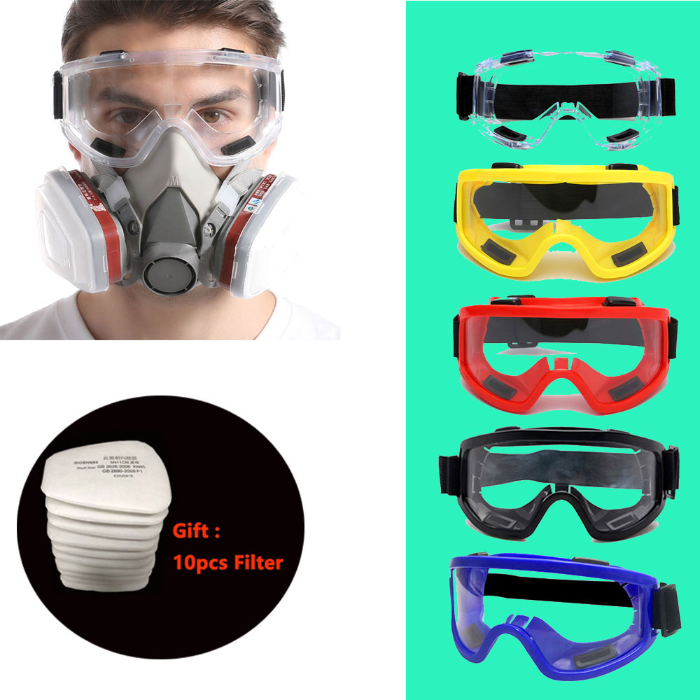 New 8-In-1 6200 Dust Gas Respirator Half Face Dust Mask For Painting Spraying Organic Vapor Chemical Gas Filter Work Safety