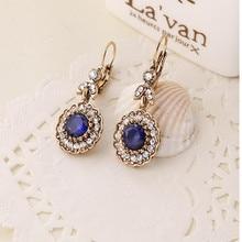 fashion antique gold Bohemian style blue stone flower crystal women's drop earrings xye238