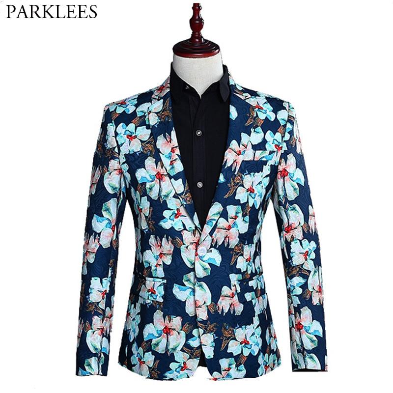 Fashion Floral Jacquard Blazer Men Casual Slim Fit One Button Mens Suit Jacket Wedding Prom Stage Singer Blazer Costume Homme