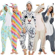 Dorosłych zwierząt jednorożec piżamy Kigurumi piżamy kobiety flanelowe Stitch Panda piżamy Unisex Onesie zwierząt zestaw piżamy dzieci kombinezon tanie tanio sumioon Poliester S M L XL Cartoon Pasuje prawda na wymiar weź swój normalny rozmiar licorne