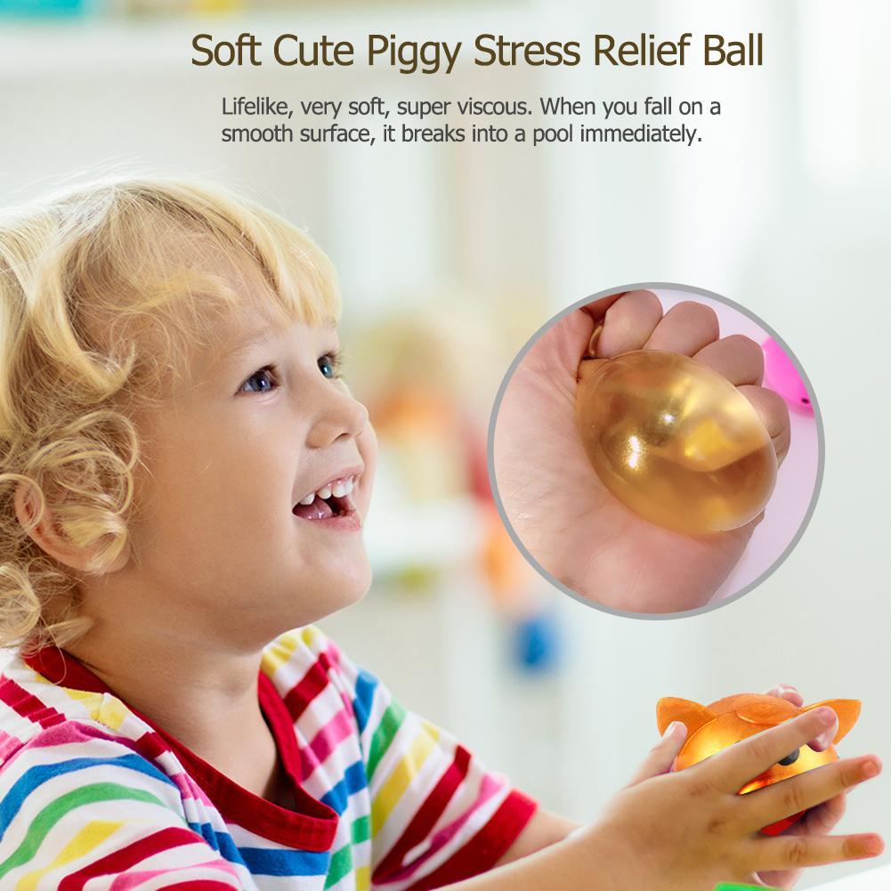 4pcs Creative Cartoon Pig Head Vent Balls Realistic Very Soft Super Sticky Plastic Decompression Water Stress Adult Toys