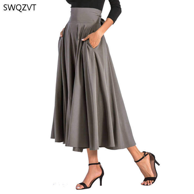 2020 New Fashion Women Long Skirt Casual Spring Summer Skirt womens Elegant Solid Bow-knot A-line Maxi Skirt Women Cothes 13