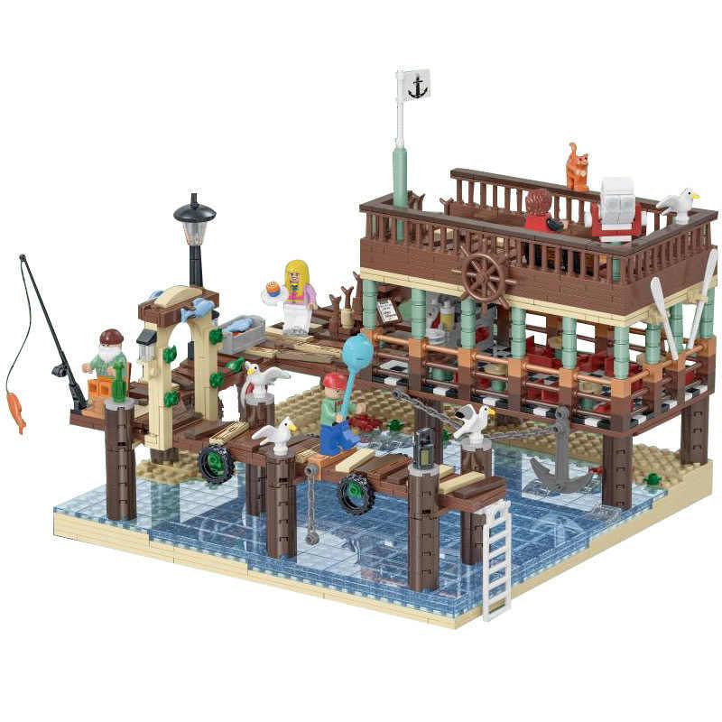 2020 nuevo el viejo pescador tienda creador ideal experto y muelle bloques de construcción MOC de la calle de la ciudad vista ladrillos juguetes para niños regalos