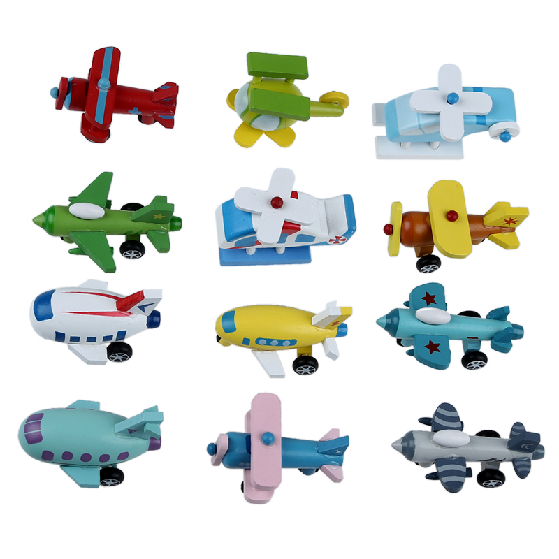 Set of 12 Wooden Airplane Model Educational Toys image