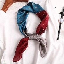 Small Women Scarf Soft Hair Tie Band Ladies Shawls Head Luxury Brand Square Neckerchief Elegant Vintage Skinny Satin