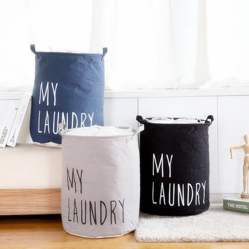 Organizer Buckets Hamper Closure Laundry-Basket Storage Foldable Cotton Bag Toy Linen title=
