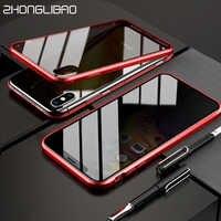 9H Verre Trempé étui pour iphone 11 Pro Xs Max 7 8 Plus X XR Anti-regard Magnétique En Métal Aimant De Couverture Double Face En Verre coque
