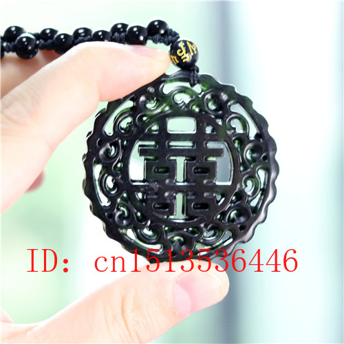 Hollow Out Double-sided Carved Chinese Jade Pendant Natural Black Green Necklace Charm Jewellery Fashion Amulet Gifts for Women