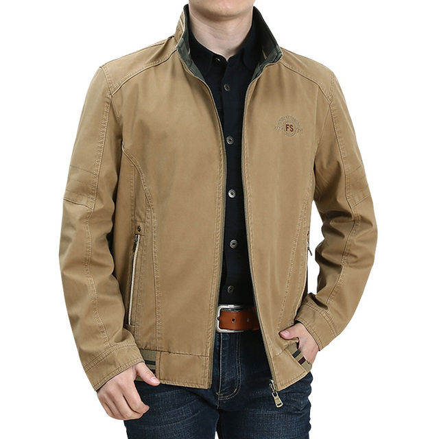 Spring Autumn Middle Aged Men's High Quality Double-sided 100% Cotton Khaki Jacket Coat Father Casual Style Man Army green Coats 2