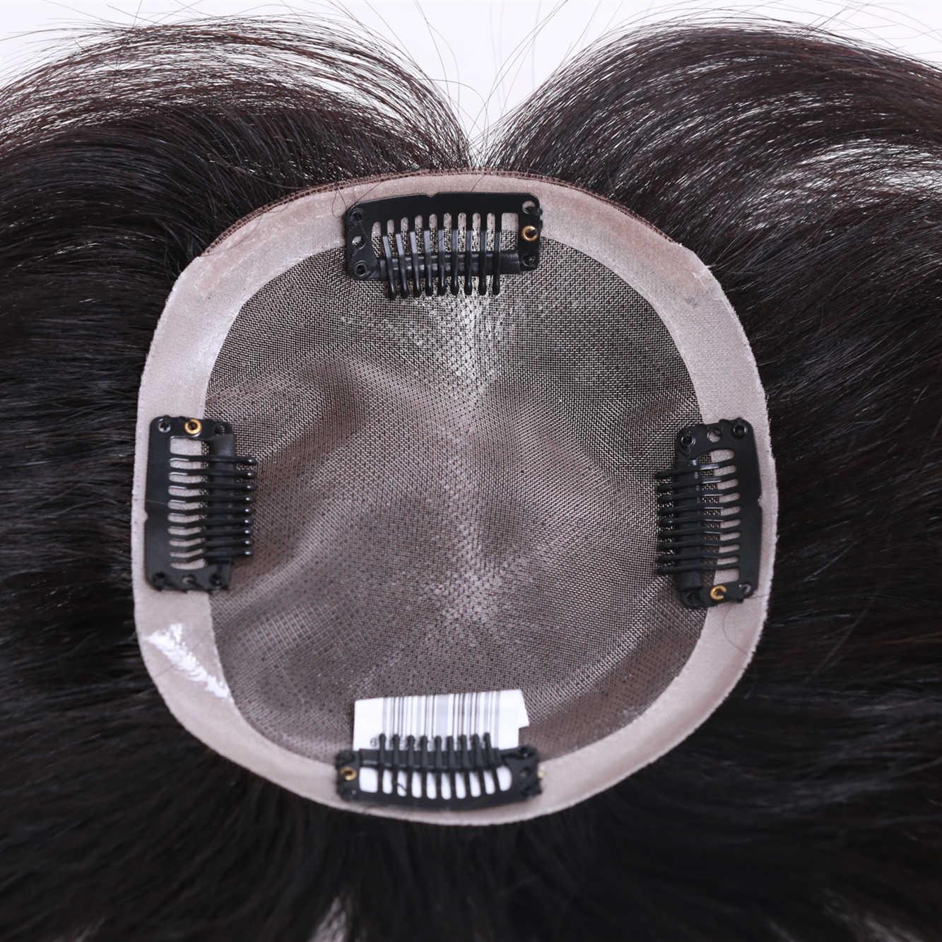 """10 """"-"""" 20 encaje recto + PU parte superior del pelo humano de la pieza del pelo para las mujeres de Color Natural Remy tupé de mujer con nudos dobles"""