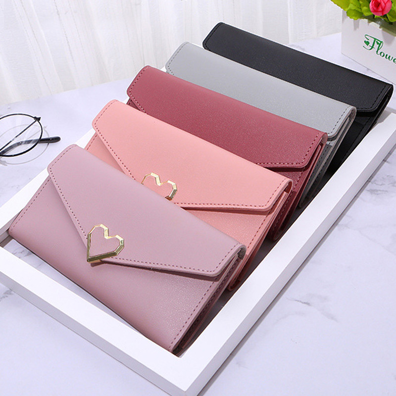 Women Clutch Card Long Wallets Fashion Lovely Solid Color Pink Black Holder Purse Lady Coin Burse Womens Wallets And Purses