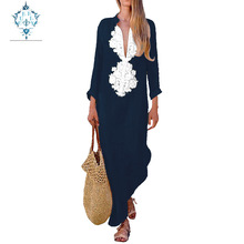 CUERLY 2019 Summer Boho Embroidered Maxi Dress Long Sleeve Women Dresses Loose linen cotton Party Clothes Casual Beach Sundress
