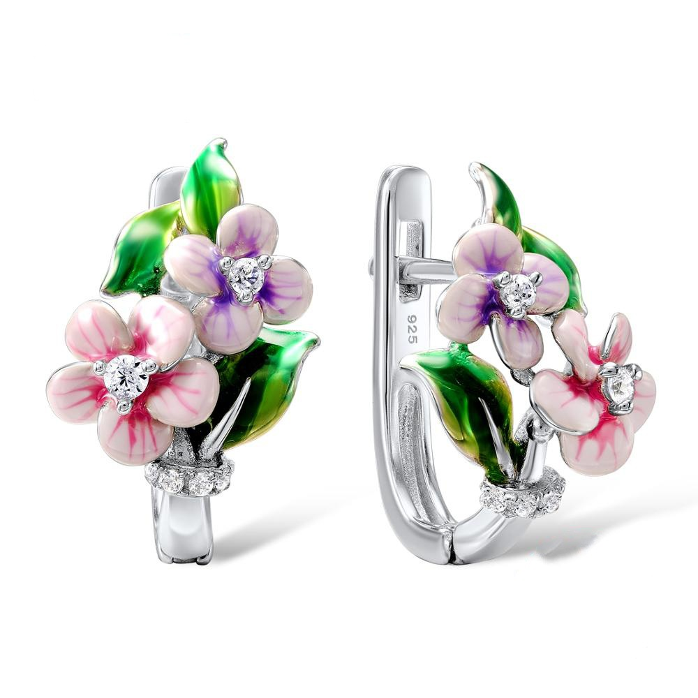 2019 Women Luxury Gorgeous Flower Silver Earrings Elegant Temperament Handmade Enamel Charm Wedding Party Earrings For Female