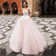 Женское кружевное платье трапеция розовое свадебное из тюля