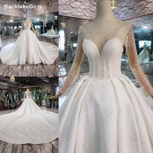 BacklakeGirls Wesele Beaded Crystal White Ivory Tulle Puffy Ball Gown Wedding Dress Robe Marie Long Sleeve Women Bridal Gown