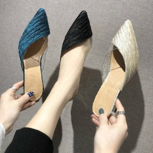 Image 4 - Summer Sandals Pointed Toe Mixed Color Slippers Middle Heels Ladies Outside Wear Half Slippers Women Comfortable Women Sandals