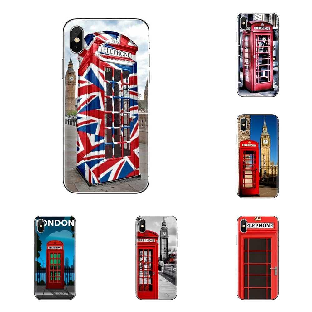 Pour Huawei Honor 7X V10 6C V9 6A Jouer 9 Mate 10 Pro Y7 Y5 P8 P10 Lite Plus GR5 2017 Rouge Londres Cabine Téléphonique Boîte étui en polyuréthane thermoplastique Sac