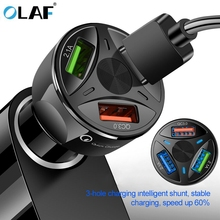 OLAF USB Car Charger Quick Charge 4 0 3 0 for iPhone Samsung Xiaomi Fast Charger QC 3 0 QC 4 0 Mobile Phone Car-Chargers cheap ROHS Qualcomm Quick Charge 3 0 Car Lighter Slot 12-24V 2 4A Model Number USB Car Charger Car USB Charger Fireproof PC + Aluminium Alloy