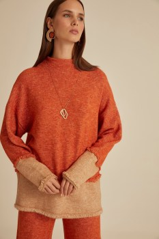 Tassel Detail Right Collar Sweater Tunic-Tarçın-Camel coffee patch detail drop shoulder sweater
