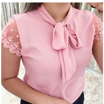 S-5XL New 2020 Lace Up Bow Tie Shirt Summer Short Sleeve Solid Chiffon Casual Blouse Plus Size 5xl Office Lady Blusas Woman Tops