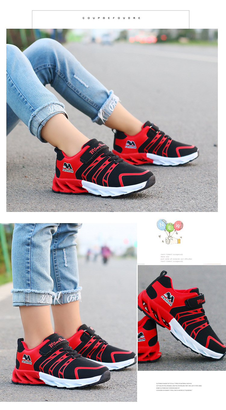 Hc7b56b490c5148e287f44141a11d88deV - Autumn Kids Shoes Boys Sneakers Breathable Patchwork Hook&Loop Sport Running Children Shoes For Girls Casual Shoes