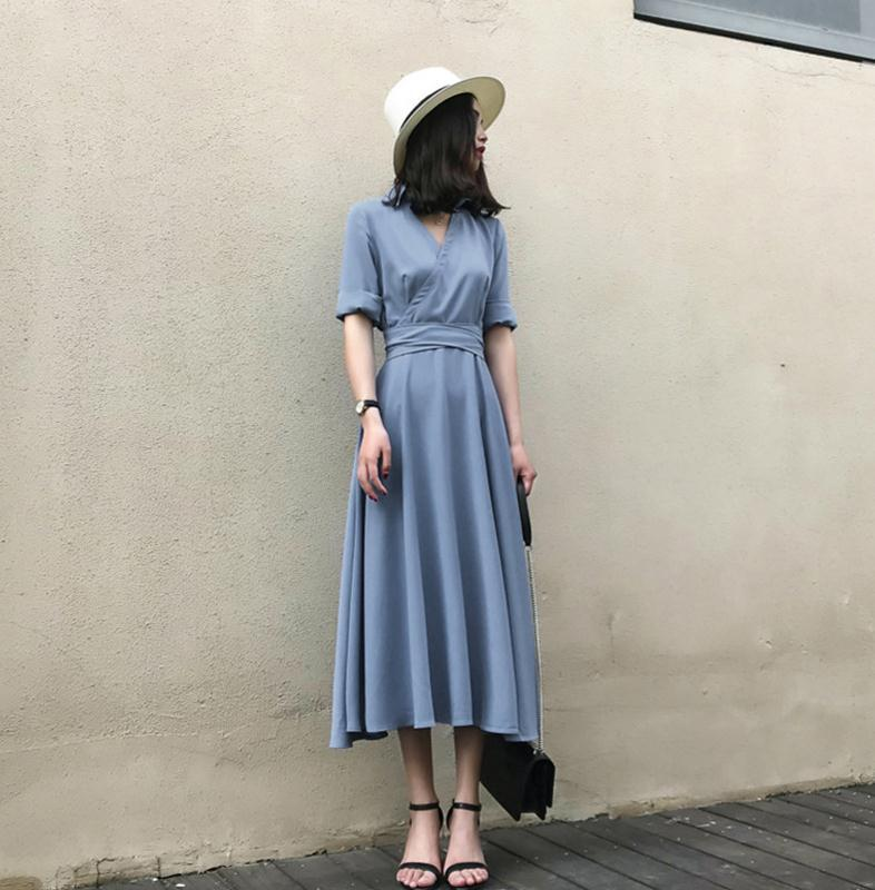 2018 Spring And Summer WOMEN'S Dress New Style Korean-style Blue Dress Elegant V-neck Long Skirts Waist Hugging Lace-up Fu Gu Qu