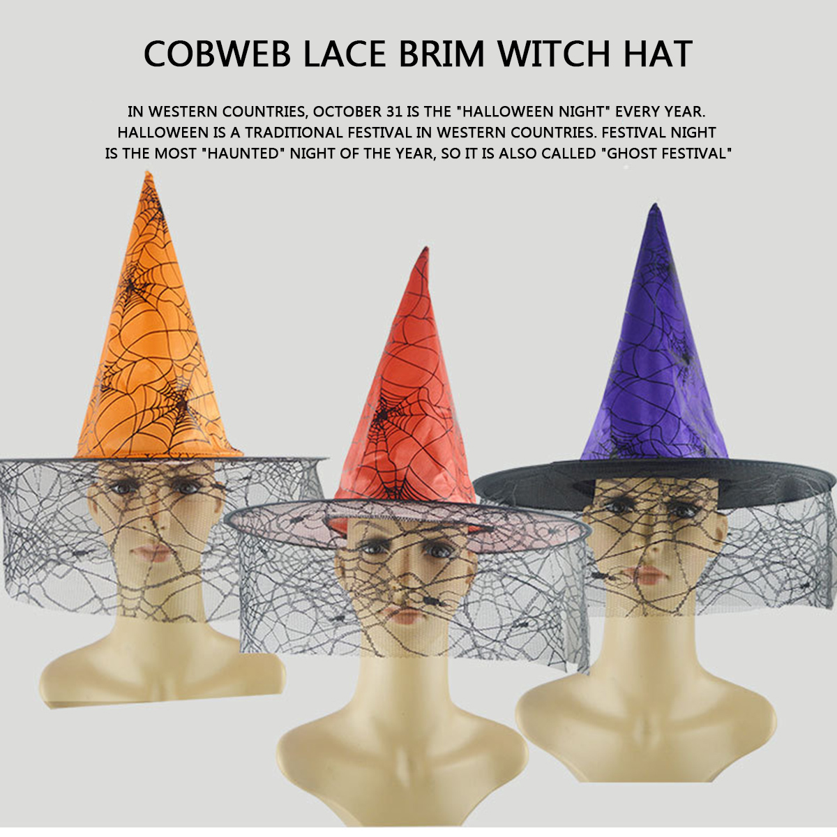 Multicolor Fashion Spider Web Pattern with Lace Witch Hat Evil Lace Witch Hat Brim Hat Halloween Carnival Costume Accessories