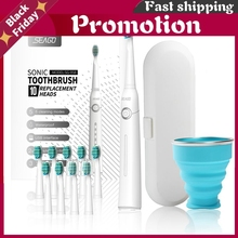 Lovers Rechargeable Electric Toothbrush Sonic Tooth Brush Travel Box Portable Folding Cup Ultrasonic Replace Brush Heads